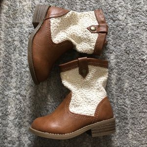 Like New Tan and White Girls Oshkosh Boots